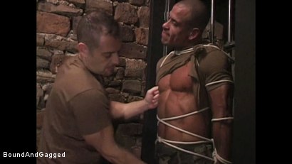 "Photo number 6 from BONDAGE BUDDIES: MILITARY TIES - Scene 1 ""Hello, Fucker"" shot for Bound And Gagged on Kink.com. Featuring Diego Alvarez and Doug Jeffries in hardcore BDSM & Fetish porn."