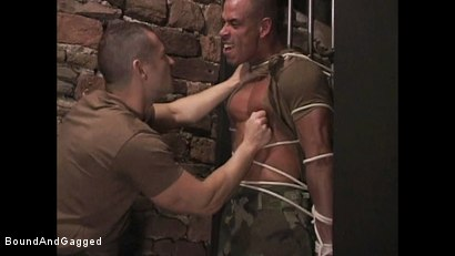 "Photo number 7 from BONDAGE BUDDIES: MILITARY TIES - Scene 1 ""Hello, Fucker"" shot for Bound And Gagged on Kink.com. Featuring Diego Alvarez and Doug Jeffries in hardcore BDSM & Fetish porn."