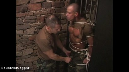 "Photo number 8 from BONDAGE BUDDIES: MILITARY TIES - Scene 1 ""Hello, Fucker"" shot for Bound And Gagged on Kink.com. Featuring Diego Alvarez and Doug Jeffries in hardcore BDSM & Fetish porn."