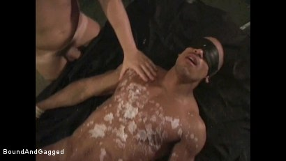 Photo number 13 from BONDAGE BUDDIES: MILITARY TIES: Hot Wax on a Floating Bondage Board shot for Bound And Gagged on Kink.com. Featuring Diego Alvarez and Doug Jeffries in hardcore BDSM & Fetish porn.