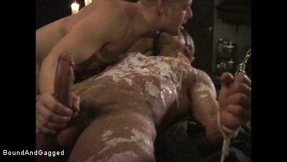 Photo number 19 from BONDAGE BUDDIES: MILITARY TIES: Hot Wax on a Floating Bondage Board shot for Bound And Gagged on Kink.com. Featuring Diego Alvarez and Doug Jeffries in hardcore BDSM & Fetish porn.