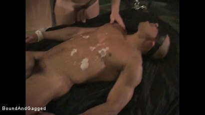 Photo number 4 from BONDAGE BUDDIES: MILITARY TIES: Hot Wax on a Floating Bondage Board shot for Bound And Gagged on Kink.com. Featuring Diego Alvarez and Doug Jeffries in hardcore BDSM & Fetish porn.