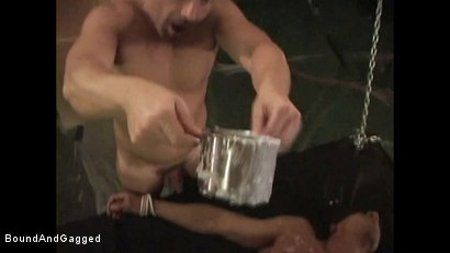 Photo number 6 from BONDAGE BUDDIES: MILITARY TIES: Hot Wax on a Floating Bondage Board shot for Bound And Gagged on Kink.com. Featuring Diego Alvarez and Doug Jeffries in hardcore BDSM & Fetish porn.