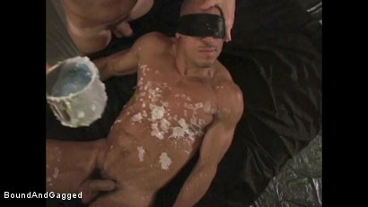 Photo number 9 from BONDAGE BUDDIES: MILITARY TIES: Hot Wax on a Floating Bondage Board shot for Bound And Gagged on Kink.com. Featuring Diego Alvarez and Doug Jeffries in hardcore BDSM & Fetish porn.