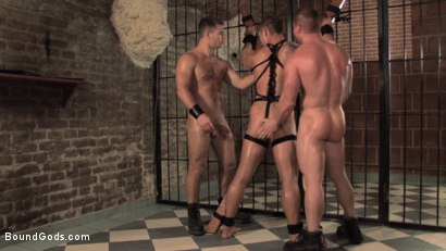 Photo number 6 from Budapest Bound 2: Never-Before-Seen Fuckfest in Budapest Dungeon shot for Bound Gods on Kink.com. Featuring Rick Bauer, Enrico Bellagio and Alfredo Castaldo in hardcore BDSM & Fetish porn.