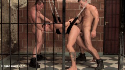 Photo number 15 from Budapest Bound 2: Never-Before-Seen Fuckfest in Budapest Dungeon shot for Bound Gods on Kink.com. Featuring Rick Bauer, Enrico Bellagio and Alfredo Castaldo in hardcore BDSM & Fetish porn.