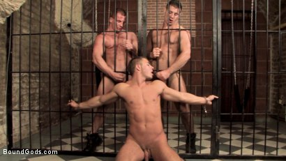 Photo number 26 from Budapest Bound 2: Never-Before-Seen Fuckfest in Budapest Dungeon shot for Bound Gods on Kink.com. Featuring Rick Bauer, Enrico Bellagio and Alfredo Castaldo in hardcore BDSM & Fetish porn.