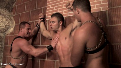 Photo number 3 from Budapest Bound 2: Never-Before-Seen Fuckfest in Budapest Dungeon shot for Bound Gods on Kink.com. Featuring Rick Bauer, Enrico Bellagio and Alfredo Castaldo in hardcore BDSM & Fetish porn.