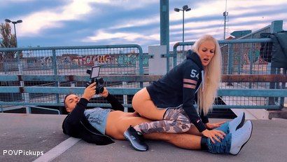 Filthy car park fuck with blonde silicone chick
