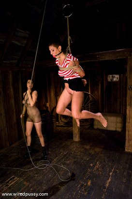 Photo number 3 from Amateur gets her big tits tied and shocked for the FIRST TIME ever! shot for Wired Pussy on Kink.com. Featuring Sandra Romain and Saffron in hardcore BDSM & Fetish porn.