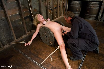 Photo number 4 from  Amazonian Goddess<br>Annette Schwarz, 6'0, blond, bound, helpless, ass fucked and made to cum. shot for Hogtied on Kink.com. Featuring Annette Schwarz in hardcore BDSM & Fetish porn.