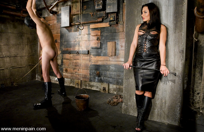Bondage male slave eating mistress pussy