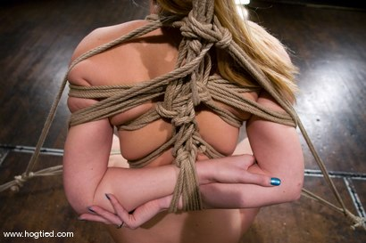Photo number 7 from Amazonion describes Hollie Stevens to a tee.   Tall, tan, blond, powerful, and helplessly bound. shot for Hogtied on Kink.com. Featuring Hollie Stevens in hardcore BDSM & Fetish porn.
