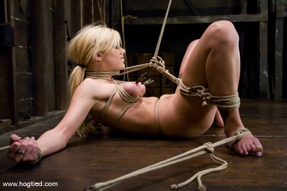 Photo number 5 from Samantha Sin - blond, shaved, <br>toned, and a former gymnast - now a first time bondage model. shot for Hogtied on Kink.com. Featuring Samantha Sin in hardcore BDSM & Fetish porn.