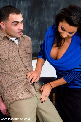Photo number 3 from The Tutor shot for TS Seduction on Kink.com. Featuring Ariel Everitts and Rico in hardcore BDSM & Fetish porn.