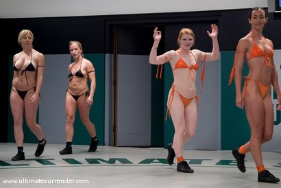 Photo number 1 from LIVE TAG TEAM LEAGUE <BR>Team Black<br> vs <br> Team Orange shot for Ultimate Surrender on Kink.com. Featuring Madison Young, Wenona, Adrianna Nicole and Dia Zerva in hardcore BDSM & Fetish porn.