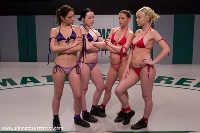 Photo number 1 from TAG TEAM LEAGUE DEBUT<BR>Team Purple<br> vs <br> Team Red shot for Ultimate Surrender on Kink.com. Featuring Amber Rayne, Samantha Sin, Ariel X and Alexa Von Tess in hardcore BDSM & Fetish porn.