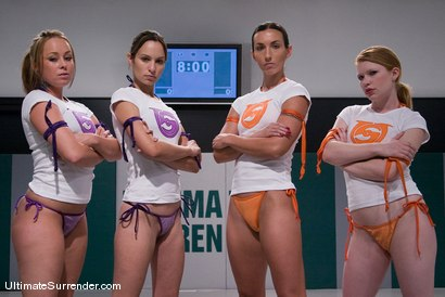 Photo number 1 from LIVE TAG TEAM LEAGUE <BR>Team Orange<br> vs <br> Team Purple shot for Ultimate Surrender on Kink.com. Featuring Amber Rayne, Madison Young, Wenona and Alexa Von Tess in hardcore BDSM & Fetish porn.
