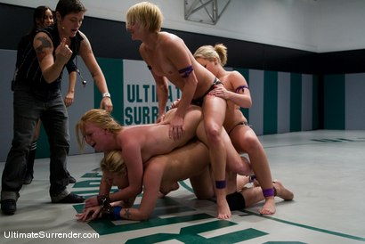Photo number 15 from LIVE TAG TEAM LEAGUE <BR>Team Purple<br> vs <br> Team Blue shot for Ultimate Surrender on Kink.com. Featuring Amber Rayne, Alexa Von Tess, Hollie Stevens, Ami Emerson and Vendetta in hardcore BDSM & Fetish porn.