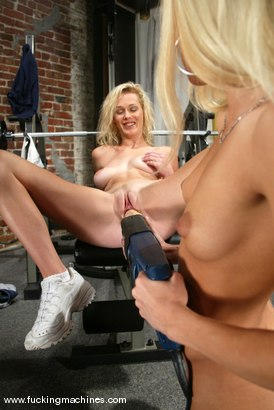 Photo number 3 from Squirting Blonds shot for Fucking Machines on Kink.com. Featuring Phoenix and Kylie Wilde in hardcore BDSM & Fetish porn.