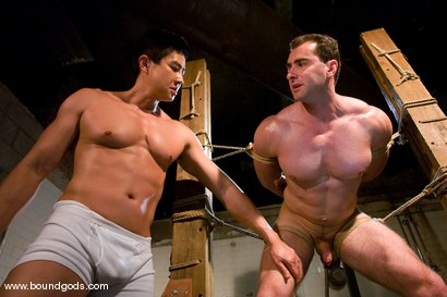 Photo number 12 from The Straight Bodybuilder shot for Bound Gods on Kink.com. Featuring Van Darkholme and Nick Armani in hardcore BDSM & Fetish porn.