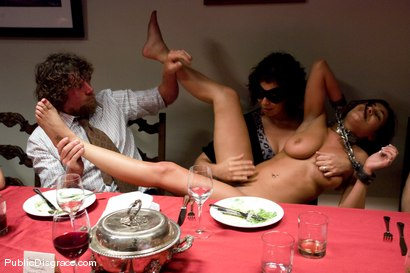 Photo number 4 from CLASSIC ARCHIVE SHOOT: The Dinner Party shot for Public Disgrace on Kink.com. Featuring Charley Chase and Princess Donna Dolore in hardcore BDSM & Fetish porn.
