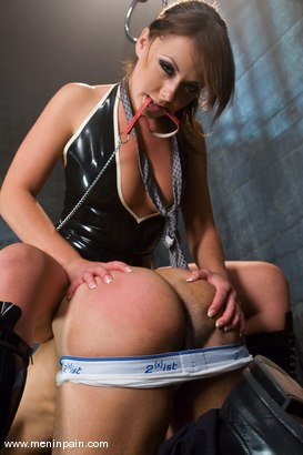 Photo number 10 from Latex Dominatrix Meets Corporate Scum shot for Men In Pain on Kink.com. Featuring Brian Mayor and Penny Flame in hardcore BDSM & Fetish porn.
