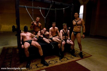 Photo number 15 from Tober Gang Bang: Part One shot for boundgods on Kink.com. Featuring Tober Brandt, Van Darkholme, Tyler Saint, Mark Wells, Nick Moretti, Dante and Devin in hardcore BDSM & Fetish porn.
