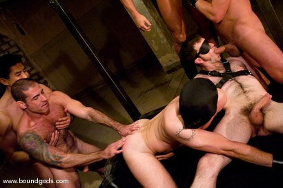 Photo number 9 from Tober Gang Bang: Part One shot for Bound Gods on Kink.com. Featuring Tober Brandt, Van Darkholme, Tyler Saint, Mark Wells, Nick Moretti, Dante and Devin in hardcore BDSM & Fetish porn.
