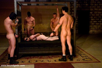 Photo number 7 from Tober Gang Bang: Part One shot for Bound Gods on Kink.com. Featuring Tober Brandt, Van Darkholme, Tyler Saint, Mark Wells, Nick Moretti, Dante and Devin in hardcore BDSM & Fetish porn.
