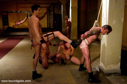 Photo number 4 from Tober Gang Bang: Part One shot for Bound Gods on Kink.com. Featuring Tober Brandt, Van Darkholme, Tyler Saint, Mark Wells, Nick Moretti, Dante and Devin in hardcore BDSM & Fetish porn.