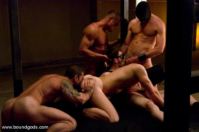 Photo number 8 from Tober Gang Bang: Part One shot for Bound Gods on Kink.com. Featuring Tober Brandt, Van Darkholme, Tyler Saint, Mark Wells, Nick Moretti, Dante and Devin in hardcore BDSM & Fetish porn.