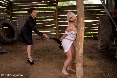 Photo number 4 from Beautiful Russian blond tries bondage for the first time and loves it!!!! shot for Wired Pussy on Kink.com. Featuring Princess Donna Dolore and Erika Angel in hardcore BDSM & Fetish porn.