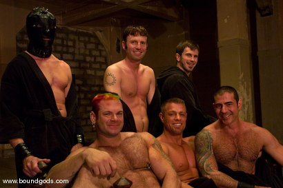 Photo number 15 from Tober Gang Bang: Part Two shot for Bound Gods on Kink.com. Featuring Tober Brandt, Van Darkholme, Tyler Saint, Mark Wells, Nick Moretti, Dante and Devin in hardcore BDSM & Fetish porn.