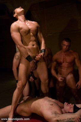 Photo number 14 from Tober Gang Bang: Part Two shot for Bound Gods on Kink.com. Featuring Tober Brandt, Van Darkholme, Tyler Saint, Mark Wells, Nick Moretti, Dante and Devin in hardcore BDSM & Fetish porn.