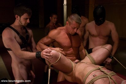 Photo number 10 from Tober Gang Bang: Part Two shot for Bound Gods on Kink.com. Featuring Tober Brandt, Van Darkholme, Tyler Saint, Mark Wells, Nick Moretti, Dante and Devin in hardcore BDSM & Fetish porn.