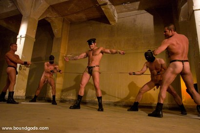 Photo number 5 from Tober Gang Bang: Part Two shot for Bound Gods on Kink.com. Featuring Tober Brandt, Van Darkholme, Tyler Saint, Mark Wells, Nick Moretti, Dante and Devin in hardcore BDSM & Fetish porn.