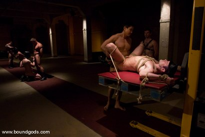 Photo number 7 from Tober Gang Bang: Part Two shot for Bound Gods on Kink.com. Featuring Tober Brandt, Van Darkholme, Tyler Saint, Mark Wells, Nick Moretti, Dante and Devin in hardcore BDSM & Fetish porn.