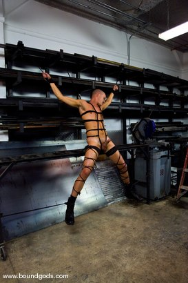 Photo number 1 from Mayhem in The Metal Shop shot for Bound Gods on Kink.com. Featuring Trystian Sweet, Jackson Lawless and Viper in hardcore BDSM & Fetish porn.