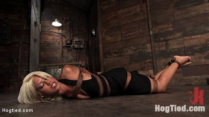 Welcome the amazing, beautiful Bridgette B to her first Hogtied shoot.