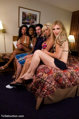 Photo number 8 from Interviews, Behind the Scenes & Bloopers shot for TS Seduction on Kink.com. Featuring Jessica Host, Jesse, Devin, Natassia Dreams, Diezel, Ariel Everitts, Lobo, Omar and Whisky Julio in hardcore BDSM & Fetish porn.
