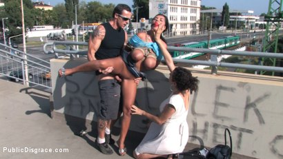 Photo number 2 from BEST OF EUROPE: BIG NATURAL TITS TIED IN PUBLIC!!!! shot for Public Disgrace on Kink.com. Featuring Black Yasmin in hardcore BDSM & Fetish porn.