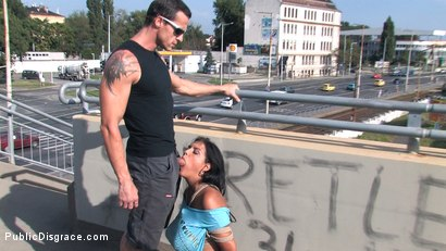 Photo number 10 from BEST OF EUROPE: BIG NATURAL TITS TIED IN PUBLIC!!!! shot for Public Disgrace on Kink.com. Featuring Black Yasmin in hardcore BDSM & Fetish porn.