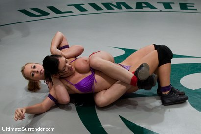 """Photo number 2 from Alexa Von Tess """"The Badger""""  (0-0) <br>vs<br>Claire Dames """"The Juggernaut"""" (0-0) shot for Ultimate Surrender on Kink.com. Featuring Alexa Von Tess and Claire Dames in hardcore BDSM & Fetish porn."""