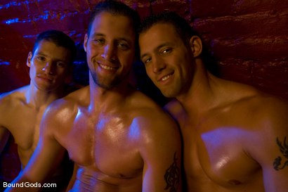 Photo number 15 from The Mangiatti Twins in Budapest shot for Bound Gods on Kink.com. Featuring James Jones, Fabrizio Mangiatti and Maurizio Mangiatti in hardcore BDSM & Fetish porn.