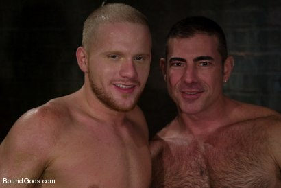 Photo number 15 from Slicked Master and the Golden Boy shot for Bound Gods on Kink.com. Featuring Nick Moretti and Luke Riley in hardcore BDSM & Fetish porn.