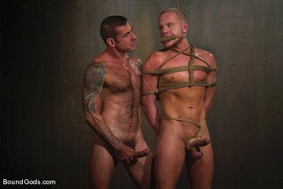 Photo number 4 from Slicked Master and the Golden Boy shot for Bound Gods on Kink.com. Featuring Nick Moretti and Luke Riley in hardcore BDSM & Fetish porn.