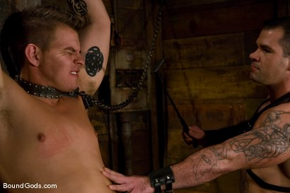 Photo number 2 from Please Hurt Me, Sir! shot for Bound Gods on Kink.com. Featuring Cayden Banks and Dak Ramsey in hardcore BDSM & Fetish porn.