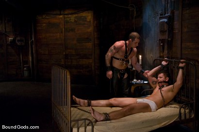 Photo number 1 from Please Hurt Me, Sir! shot for Bound Gods on Kink.com. Featuring Cayden Banks and Dak Ramsey in hardcore BDSM & Fetish porn.