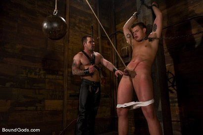 Photo number 3 from Please Hurt Me, Sir! shot for Bound Gods on Kink.com. Featuring Cayden Banks and Dak Ramsey in hardcore BDSM & Fetish porn.